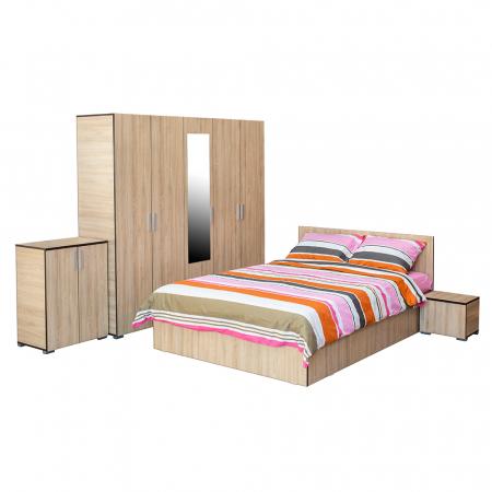 Set Dormitor CORINNE, Dulap 5 usi, Pat 140x200, 2 noptiere si comoda0