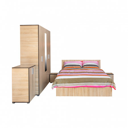 Set Dormitor CORINNE, Dulap 5 usi, Pat 140x200, 2 noptiere si comoda1