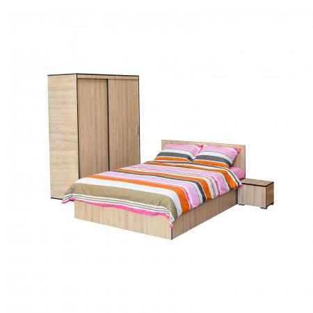Set Dormitor CORINNE, Dulap usi glisante, Pat 140x200 si 2 noptiere0