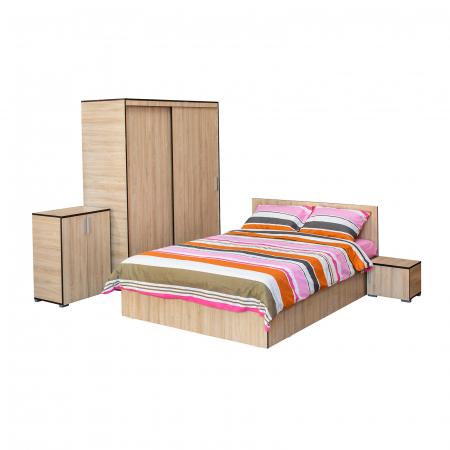 Set Dormitor CORINNE, Dulap usi glisante, Pat 140x200, 2 noptiere si comoda0