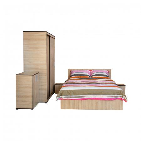Set Dormitor CORINNE, Dulap usi glisante, Pat 140x200, 2 noptiere si comoda1
