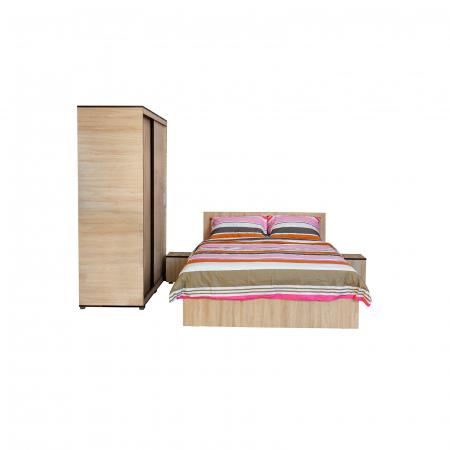 Set Dormitor CORINNE, Dulap usi glisante, Pat 160x200 si 2 noptiere1