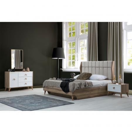 Set Dormitor MANYAS, Pat tapitat 160x200 cu somieră și spațiu depozitare, 5 piese - ExpoMob [1]