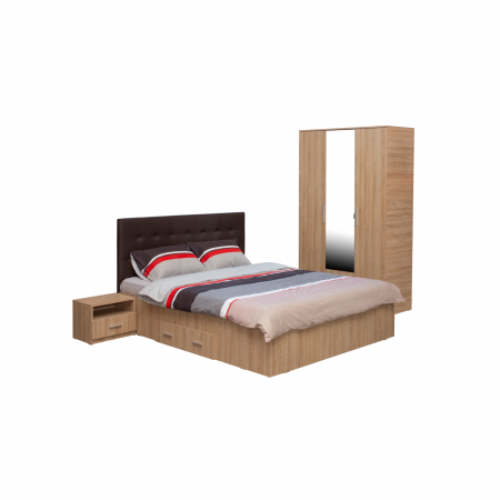 Set Dormitor OFELIA II, Dulap 3 usi, Pat 160x200 cu sertar si 2 noptiere0
