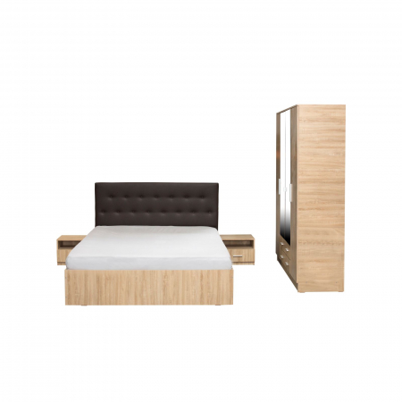Set Dormitor OFELIA II, Dulap 4 usi, Pat 160x200 cu sertar si 2 noptiere1
