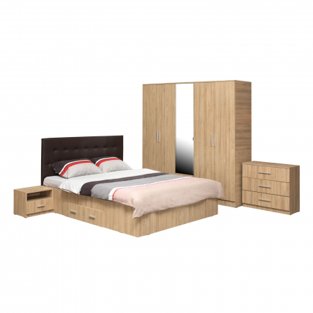 Set Dormitor OFELIA II, Dulap 5 usi, Pat 160x200 cu sertar, 2 noptiere si comoda0