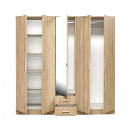 Set Dormitor OFELIA II, Dulap 5 usi, Pat 160x200 cu sertar, 2 noptiere si comoda3