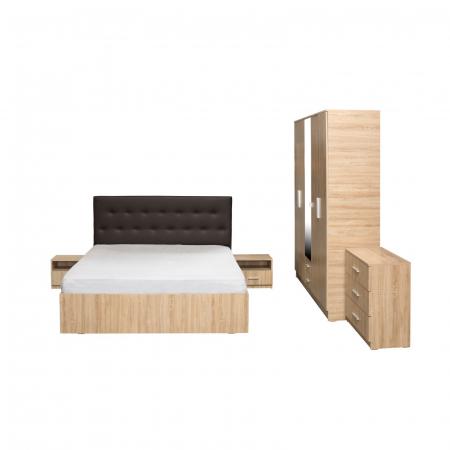 Set Dormitor OFELIA II, Dulap 5 usi, Pat 160x200 cu sertar, 2 noptiere si comoda1