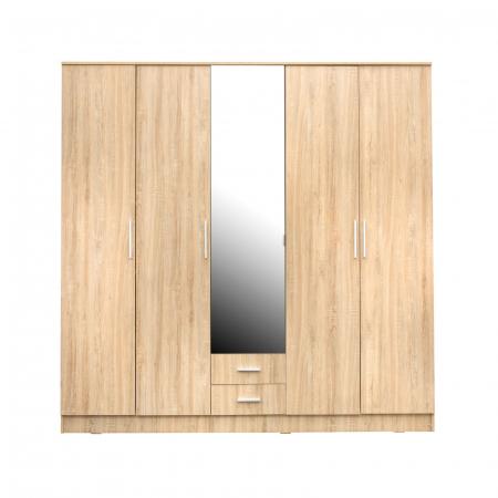 Set Dormitor OFELIA II, Dulap 5 usi, Pat 160x200 cu sertar, 2 noptiere si comoda2