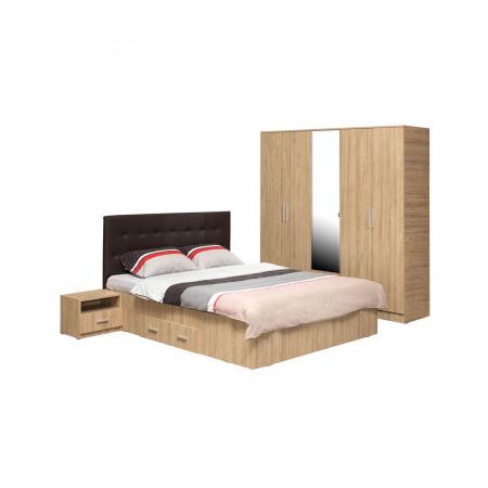Set Dormitor OFELIA II, Dulap 5 usi, Pat 160x200 cu sertar si 2 noptiere0