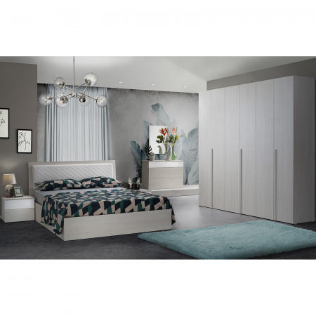 Set Dormitor SEFURA OLMO, 5 piese, Dulap 6 usi, Pat 160x200, comoda si oglinda