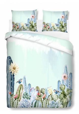 Set Lenjerie de pat dubla Cactus, 4 piese, 200x220, 100% bumbac - ExpoMob [1]