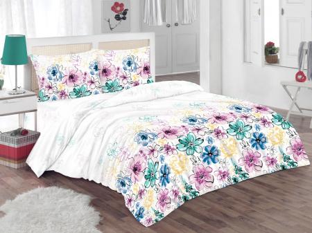 Set Lenjerie de pat dubla Flowers, 4 piese, 200x220, 100% bumbac - ExpoMob [1]