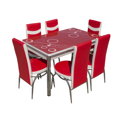 Set masa cu blat de sticla extensibila LARA cu 6 scaune0