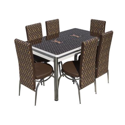 Set masa cu blat de sticla extensibila print LARA cu 6 scaune3