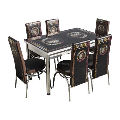 Set masa cu blat de sticla extensibila print LARA cu 6 scaune9