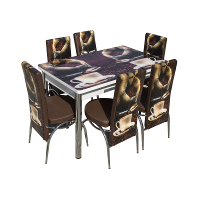 Set masa cu blat de sticla extensibila print LARA cu 6 scaune6