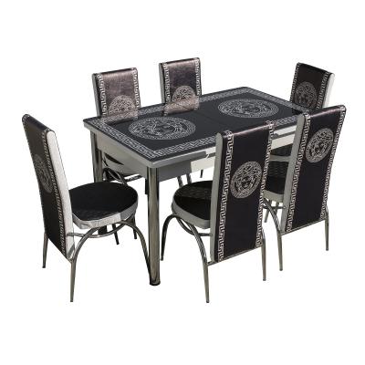 Set masa cu blat de sticla extensibila print LARA cu 6 scaune0