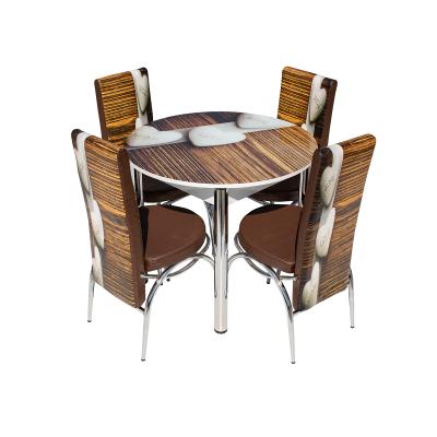 Set masa cu blat de sticla LARA cu 4 scaune