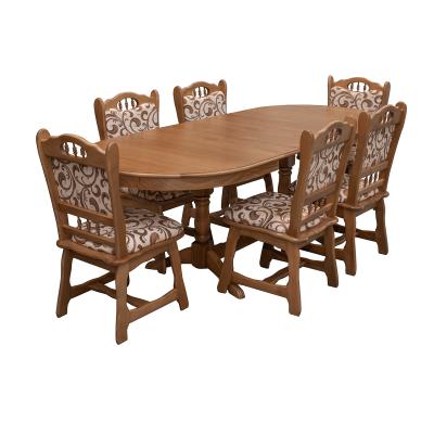 Set masa masiv extensibila cu 6 scaune masiv EUROPA, Stejar0