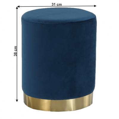 Taburet ALAZ, catifea Velvet, Gri, Albastru18
