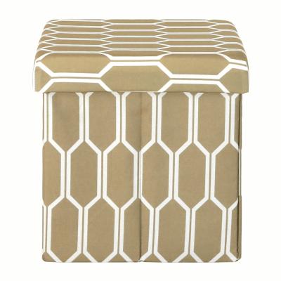 Taburet pliabil HAJAR, material textil maro/alb5