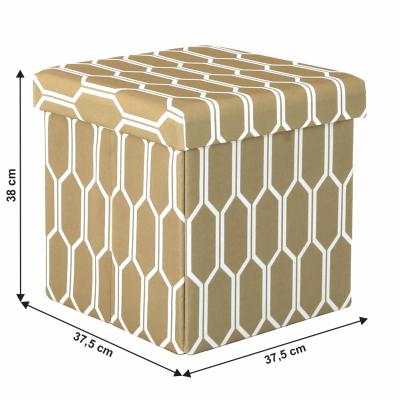 Taburet pliabil HAJAR, material textil maro/alb6