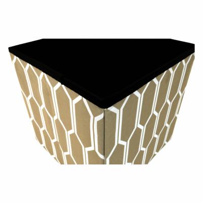 Taburet pliabil HAJAR, material textil maro/alb2
