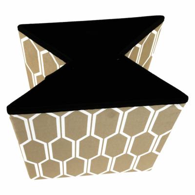 Taburet pliabil HAJAR, material textil maro/alb4
