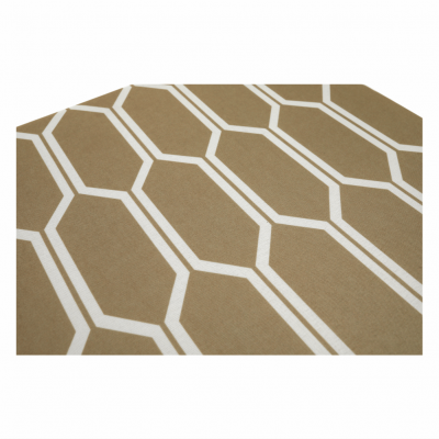 Taburet pliabil HAJAR, material textil maro/alb3