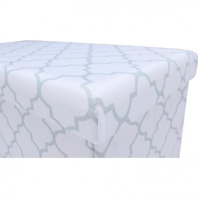 Taburet pliabil KABALA, material textil alb/gri7