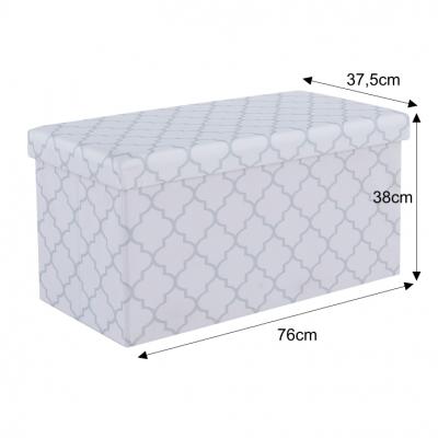 Taburet pliabil KABALA, material textil alb/gri8