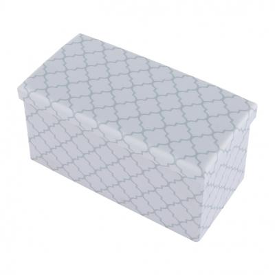 Taburet pliabil KABALA, material textil alb/gri2