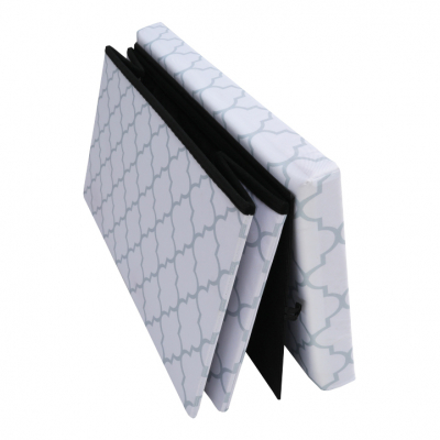 Taburet pliabil KABALA, material textil alb/gri6