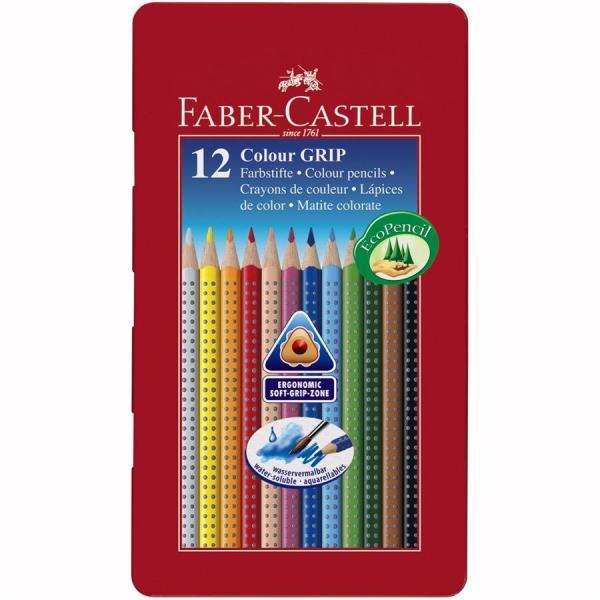 Creioane Colorate Grip 2001 12 culori in cutie metal Faber-Castell 0