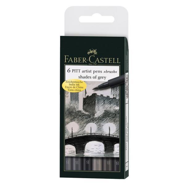 Pitt Artist Pen Set 6 buc, tonuri de gri Faber-Castell 0