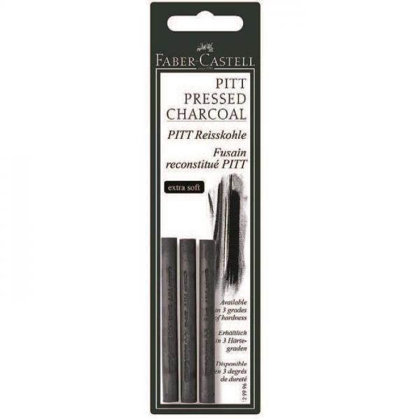 Carbune Presat Pitt Monochrome 3 buc extra-soft Faber-Castell 0