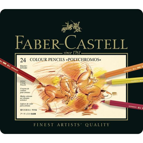 Creioane Colorate Polychromos 24 Culori Cutie Metal Faber-Castell 0