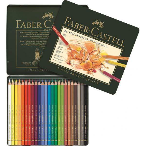 Creioane Colorate Polychromos 24 Culori Cutie Metal Faber-Castell 1