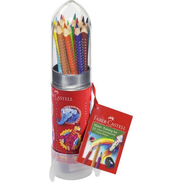 Set Cadou Racheta 8 Creioane Colorate Grip si Ascutitoare Faber-Castell 0