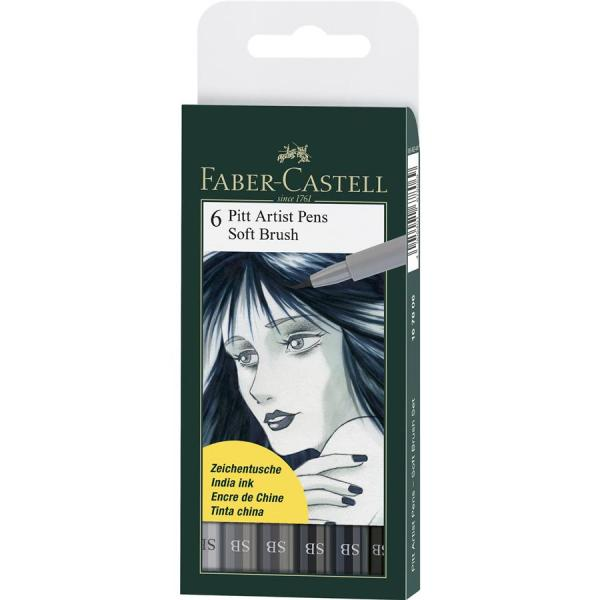 Pitt Artist Pen Soft Brush Set 6 Buc Faber-Castell 0