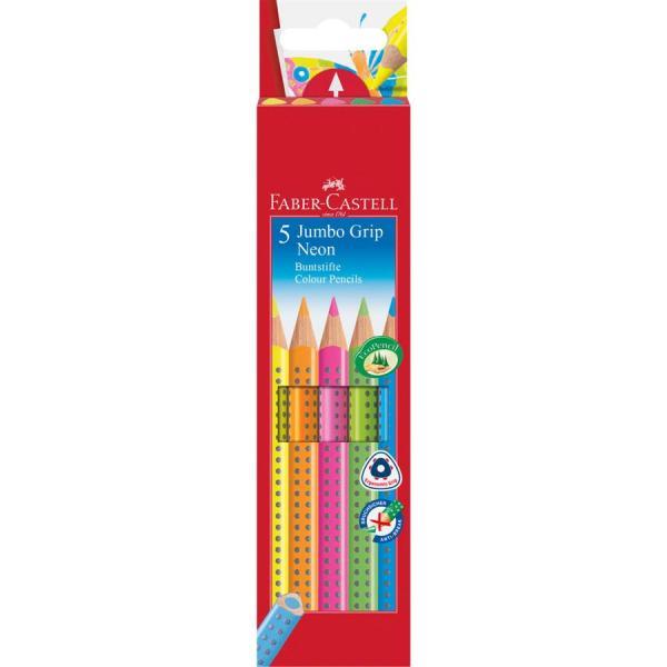 Creioane Colorate 5 Culori Neon Jumbo Grip Faber-Castell 0