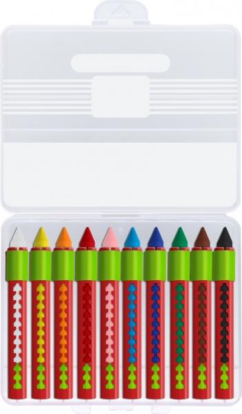 Creioane Cerate Solubile cu Protectie 10 Culori Faber-Castell 1