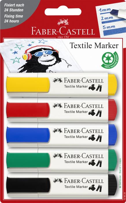 Markere textile blister 5 culori standard Faber-Castell 0
