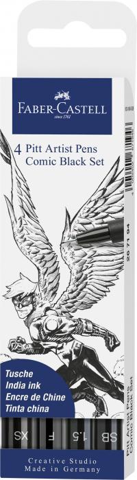 Pitt Artist Pen Set 4 Comic Negru Faber-Castell 0