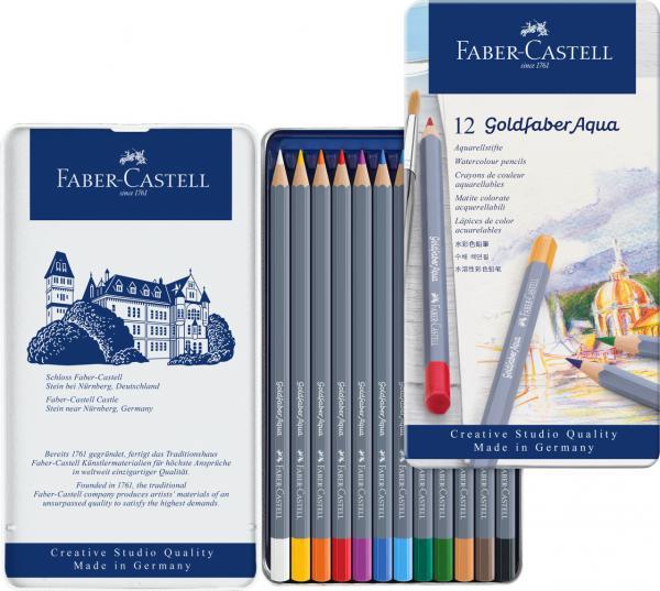 CREIOANE COLORATE AQUARELLE 12 CULORI GOLDFABER CUT. METAL Faber-Castell 2