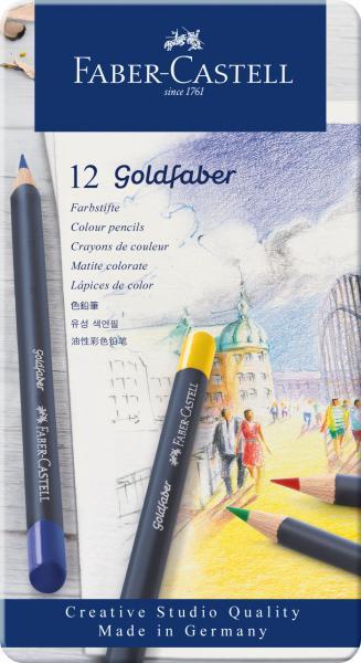 Creioane Colorate 12 Cultori Goldfaber Cutie Metal Faber-Castell 0
