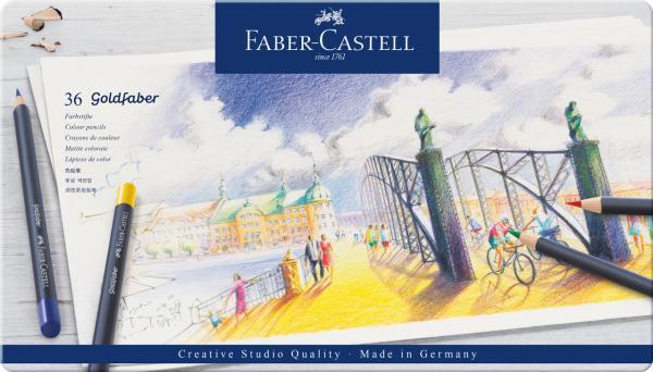 Creioane Colorate 36 Culori Goldfaber Cutie Metal Faber-Castell 0