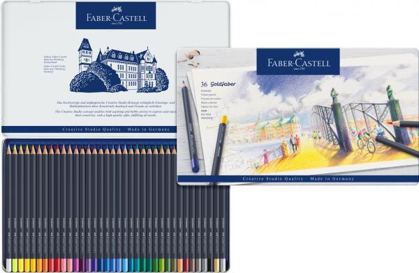 Creioane Colorate 36 Culori Goldfaber Cutie Metal Faber-Castell 1