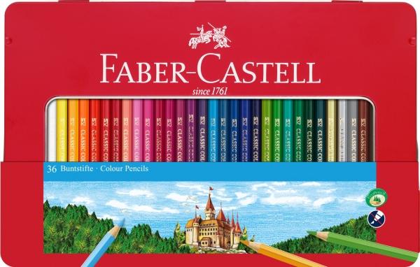 Creioane Colorate 36 Culori Cutie Metal, Faber-Castell 0